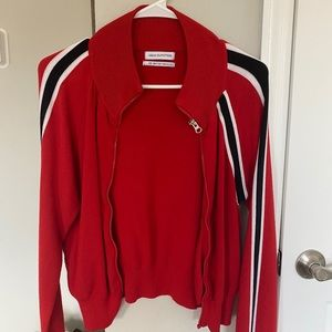 Urban Outfitters red zip-up sweater